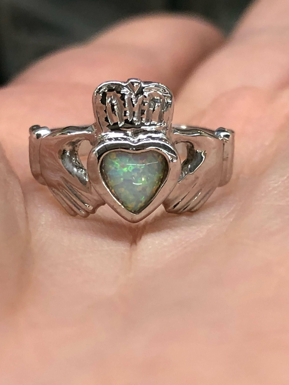 Opal Birthstone Heart Irish Claddagh Symbol Ring Claddagh Ring