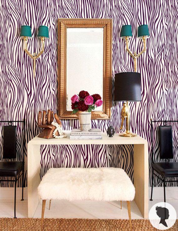 Red Zebra Wallpaper, Zebra Wallpaper, Zebra Print, Peel