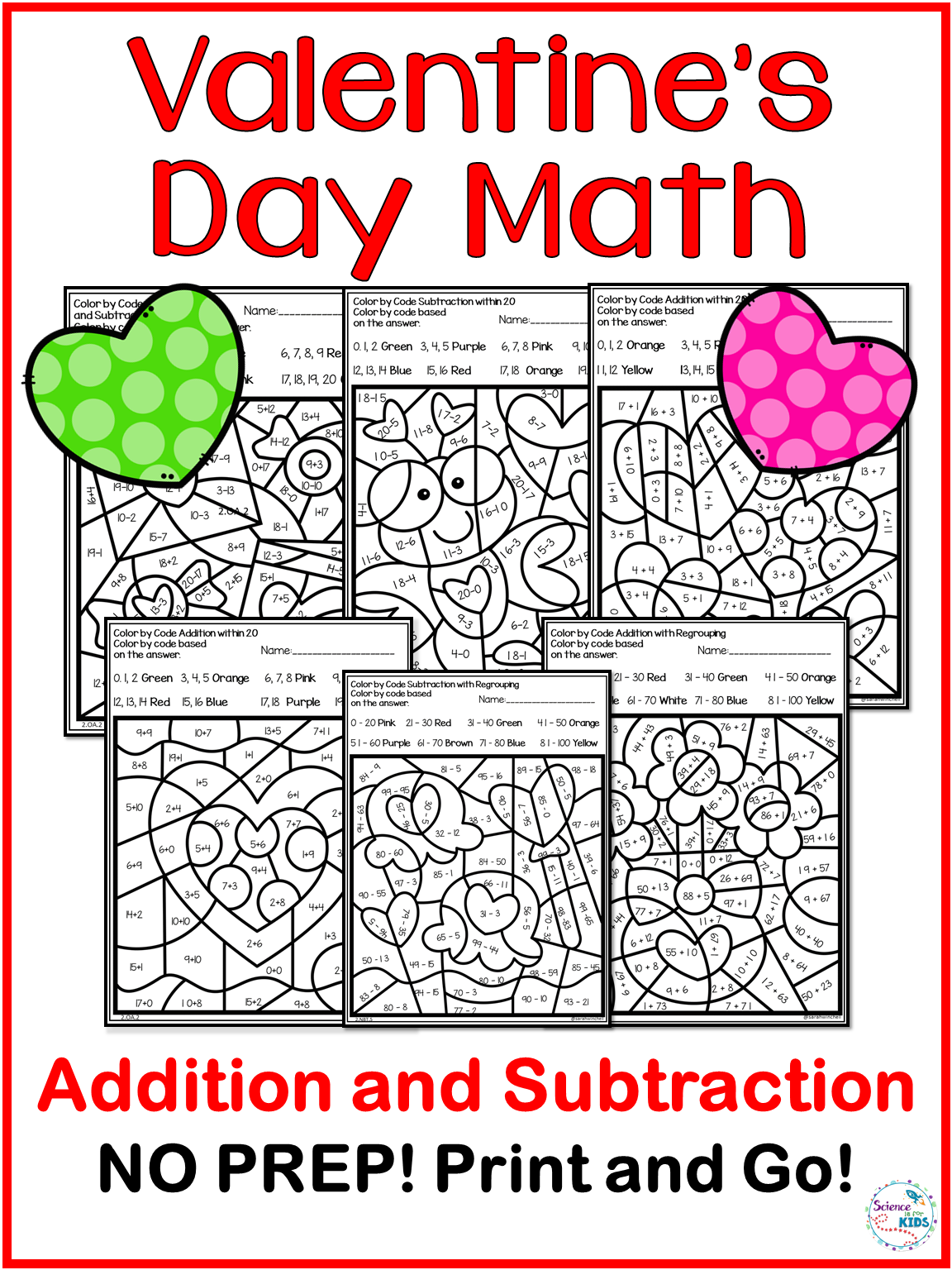 Valentine S Day Coloring Pages Addition And Subtraction