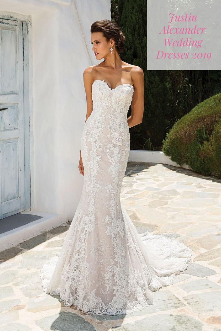 Justin Alexander Wedding Dresses At The Bridal Collection Spring 2019 Justin Alexander Wedding Dress Fit And Flare Wedding Dress Fitted Wedding Dress