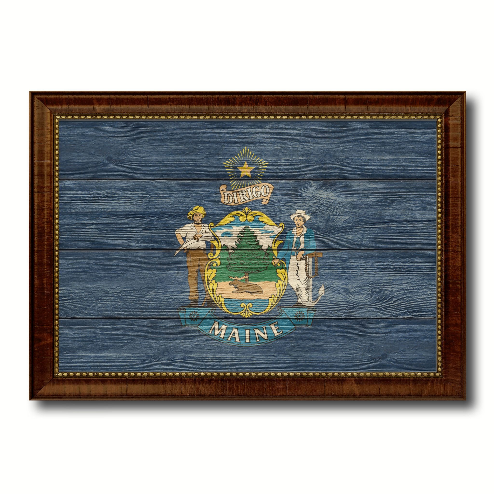 Maine State Flag Texture Canvas Print With Brown Picture Frame Gifts Home Decor Wall Art Collectible