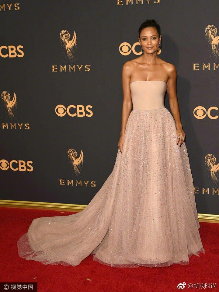 Thandie Newton 69th Emmy Awards Red Carpet Dress 2018 Sparkly Fabric  Strapless Evening Party Gowns Elegant Celebrity Dresses Long cbe752152