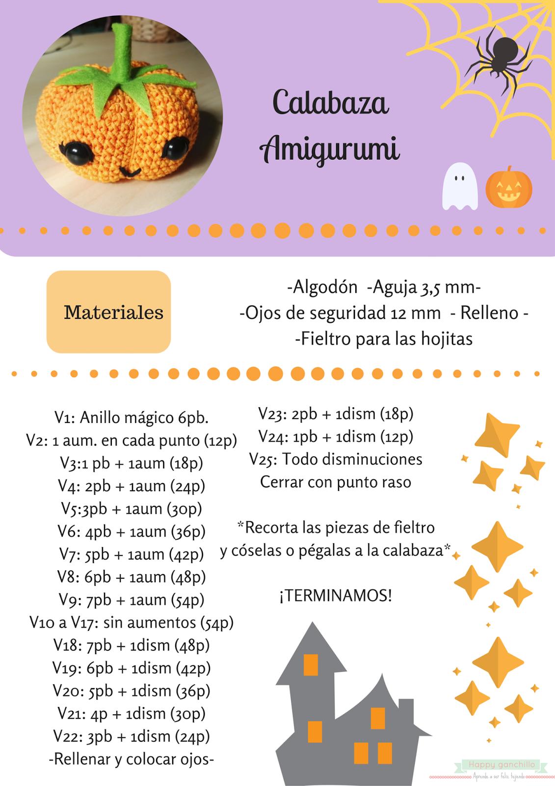 patrón calabaza halloween amigurumi | Patrones | Pinterest ...