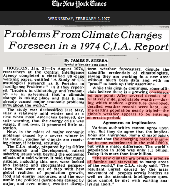NY Times 1977: CIA warned us that global cooling was going to kill us all