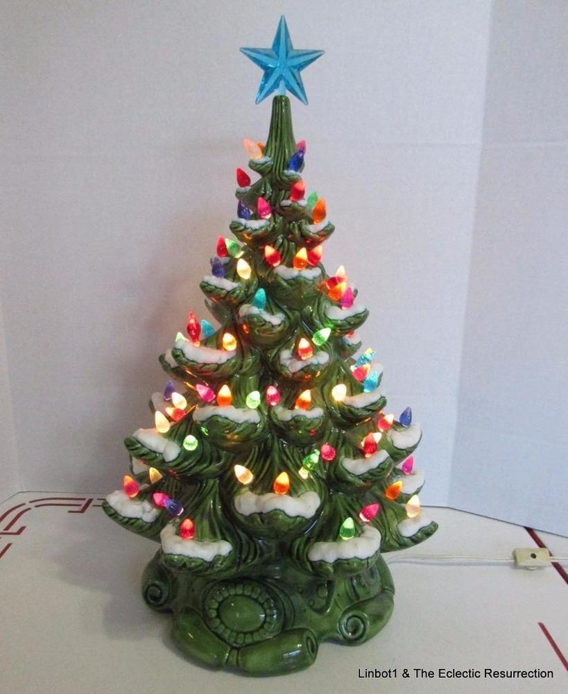 Vntg Mid-Century Ceramic Christmas Tree Atlantic Mold 17\
