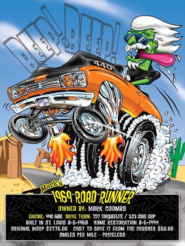 Plymouth Roadrunner Mopar Ratfink Musclecar Monster