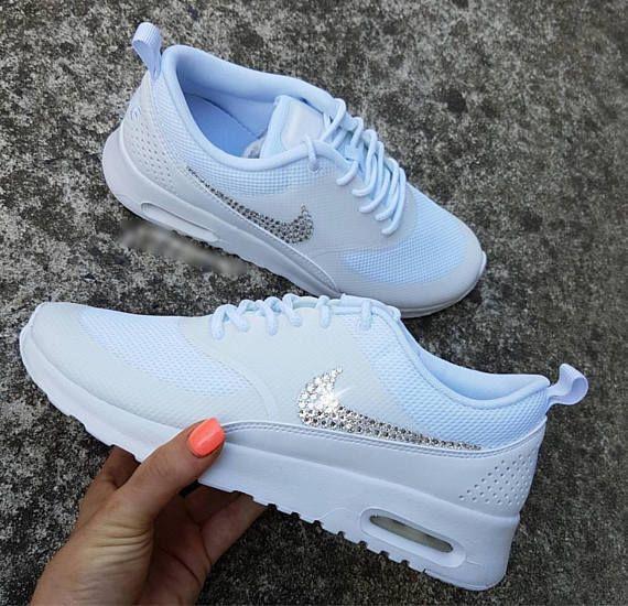 Swarovski Nike Air Max Thea Shoes In White Women s Bling Diamond Bride  Wedding Sneakers aec0011918