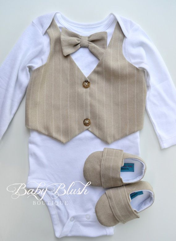 And A Vintage Bow Tie. Baby Boy Bodysuit With An Ivory Linen Vest Attached