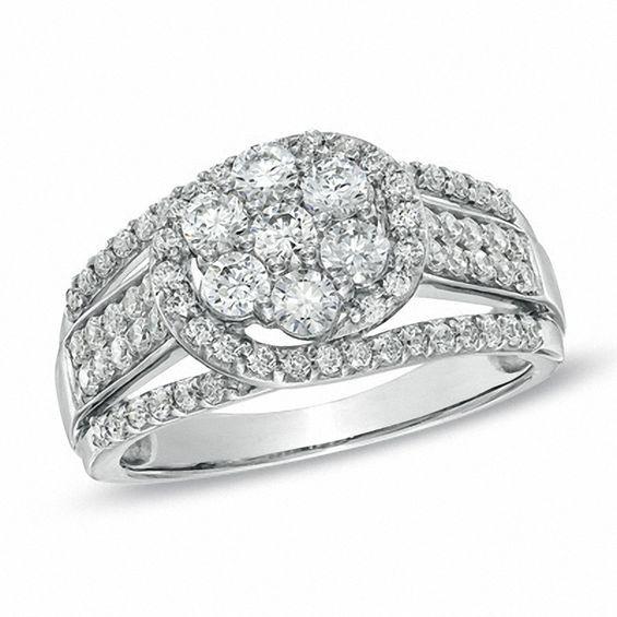 1-1/10 CT. T.w. Diamond Cluster Split Shank Ring in ...