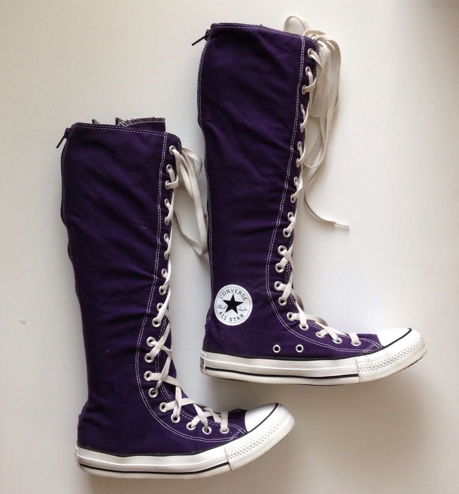 6c5dda0a578f15 Converse All Star Womens Sz 7 PURPLE Tall Lace Up KNEE HIGH Sneaker Boots  CHUCKs  Converse  SneakerBoots  Any