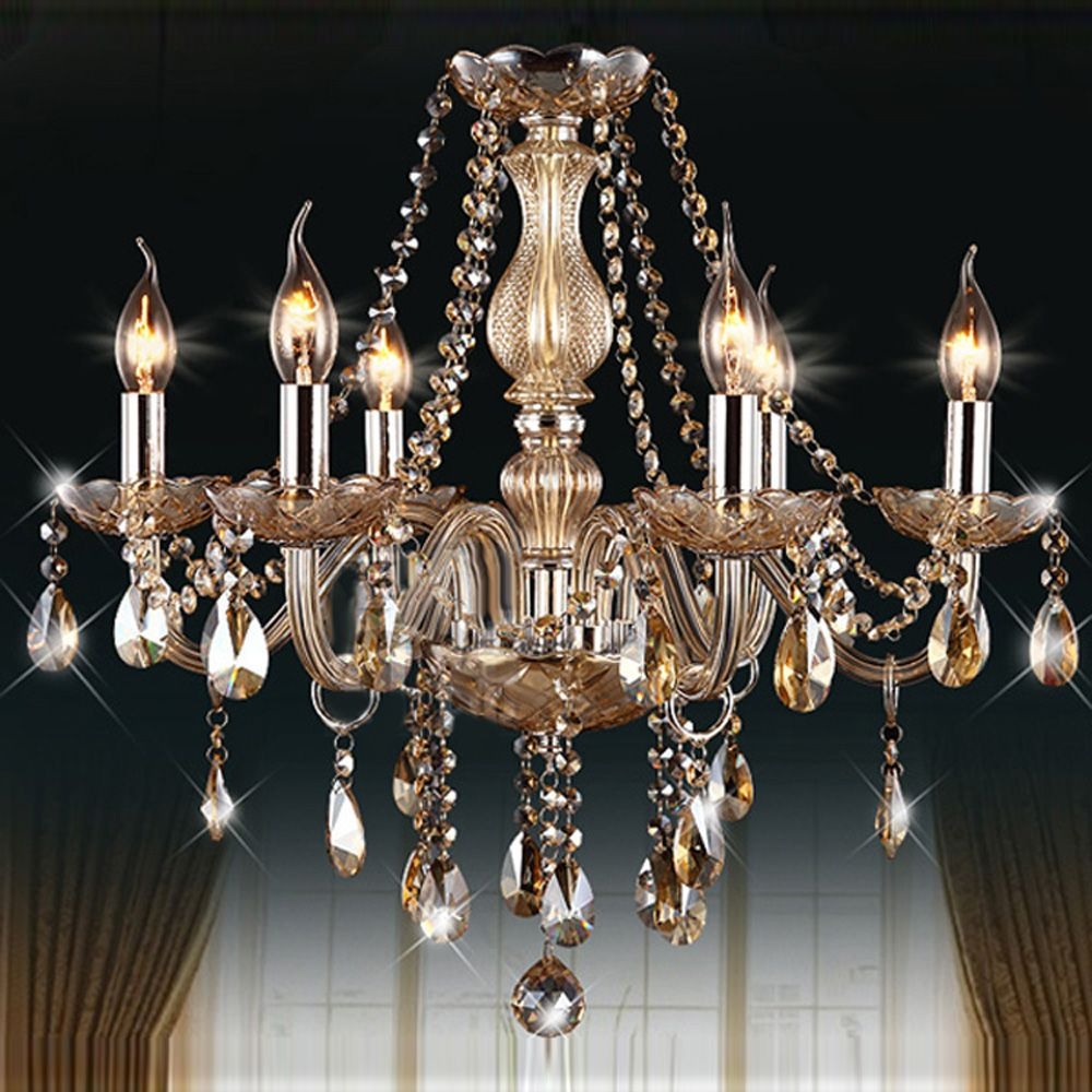 Mamei Free Shipping 6 Lights European Candle Crystal Chandeliers