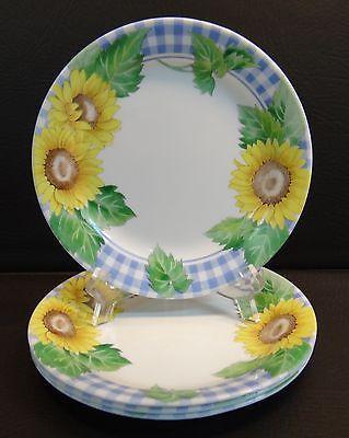 4 Corelle Sunsations Sunflowers Salad Plates Blue Ginham | Pinterest ...