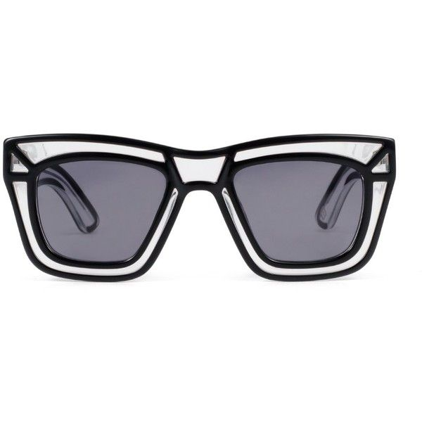 902f94e93e9 Ksubi - Skeleton oversized square frame sunglasses ($121) ❤ liked on Polyvore  featuring accessories, eyewear, sunglasses, glasses, comic book, ...