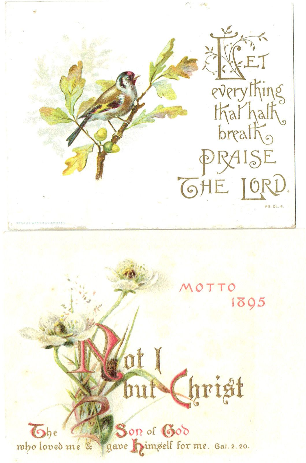 2 X Victorian Christmas Greetings Cards Religious Text 1 X Motto
