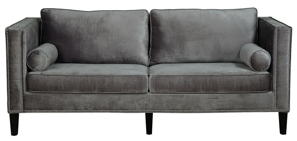 Merveilleux Cooper Grey Velvet Sofa Handcrafted With Over 1,300 Hand Applied Silver Nail  Heads, The