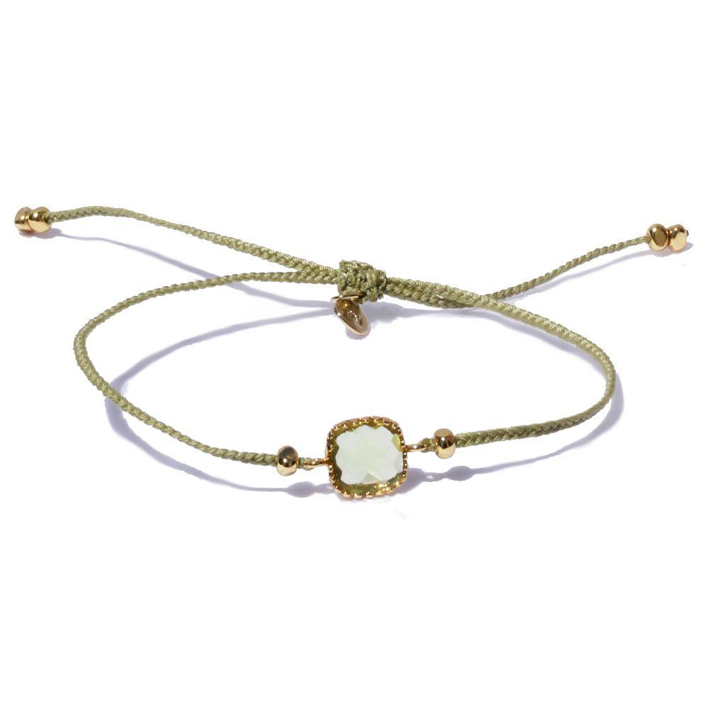 Tai Rittichai Green Crystal Braided Bracelet