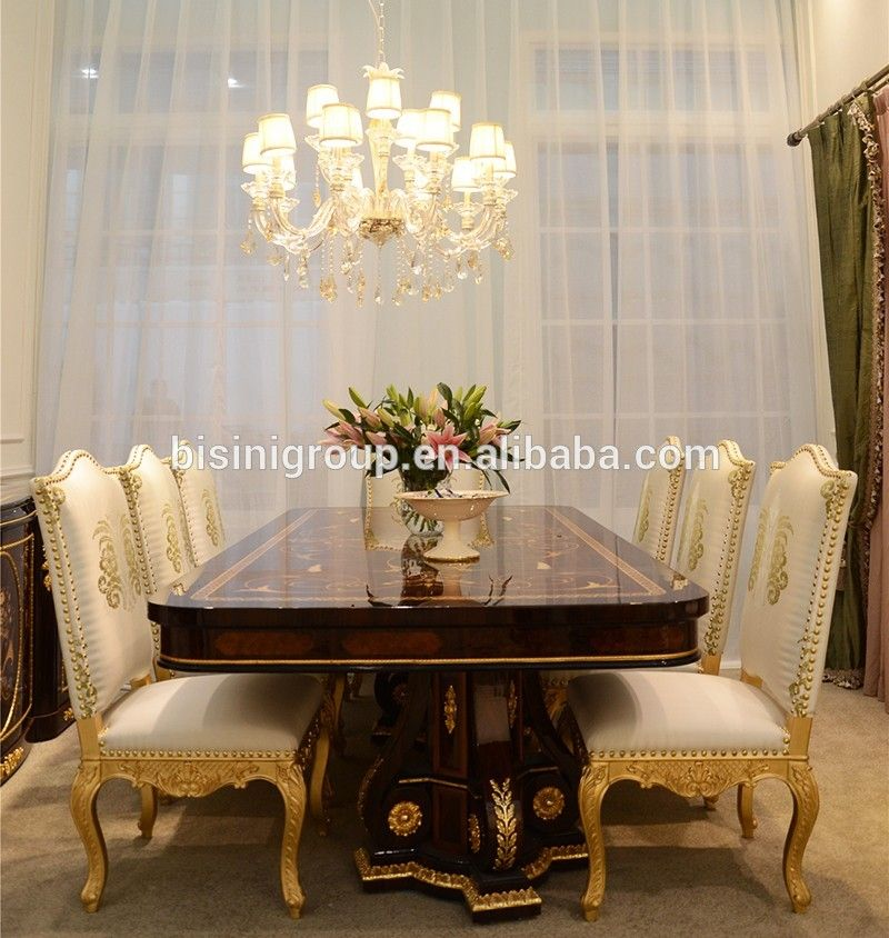 Luxury Italian Palace Long Dining Table With Golden Dining Chairs