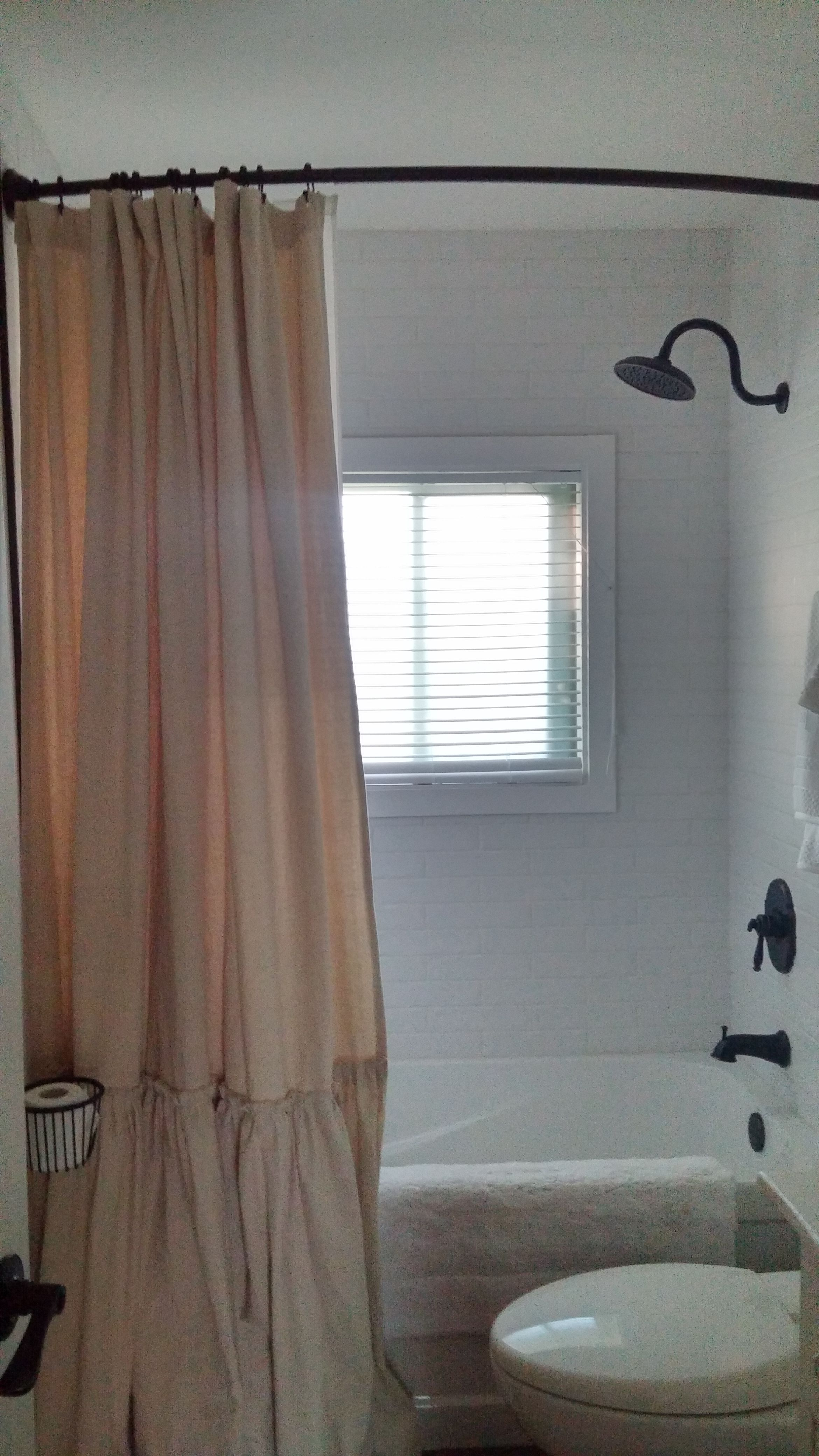 Farmhouse Bathroom Reno Homemade Shower Curtain From Drop Cloths
