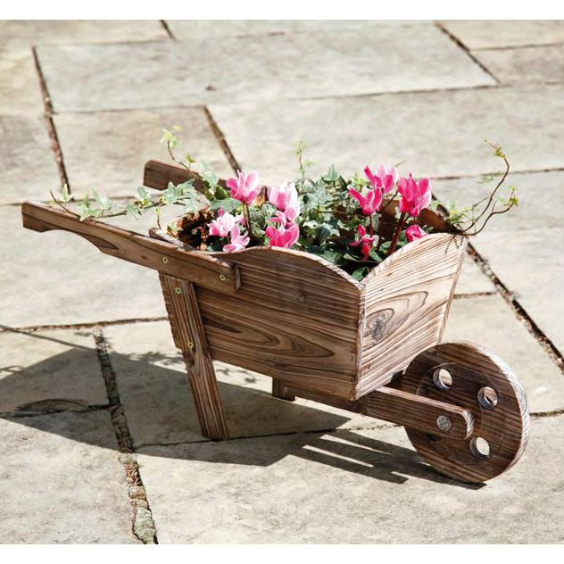 Wooden Wheel Barrow Ornamental Planter Wooden Flowers Wheelbarrow Wooden Wheelbarrow