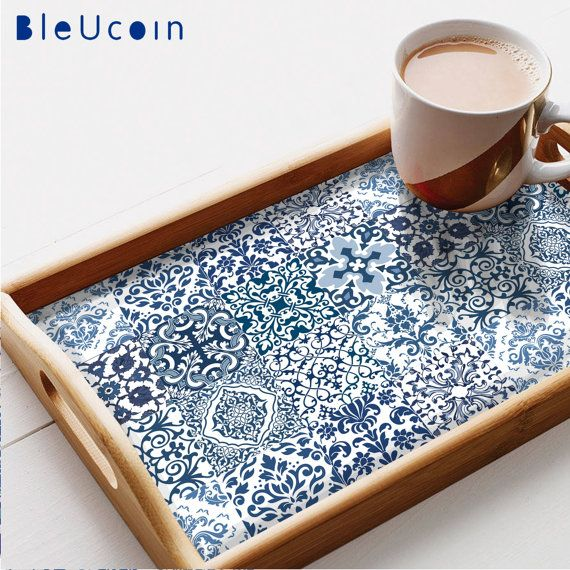 Tile/wall/ Tray decorative decal : DAMASK blue tile decal 12 designs=44pcs #decorationentrance