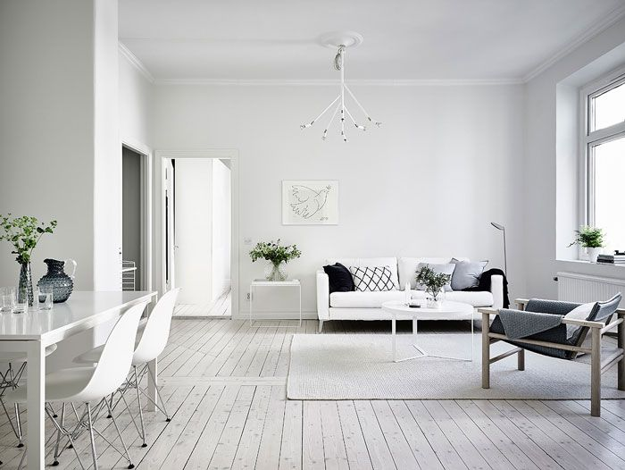 Simple And Minimalist All White Apartment In Gothenburg Living