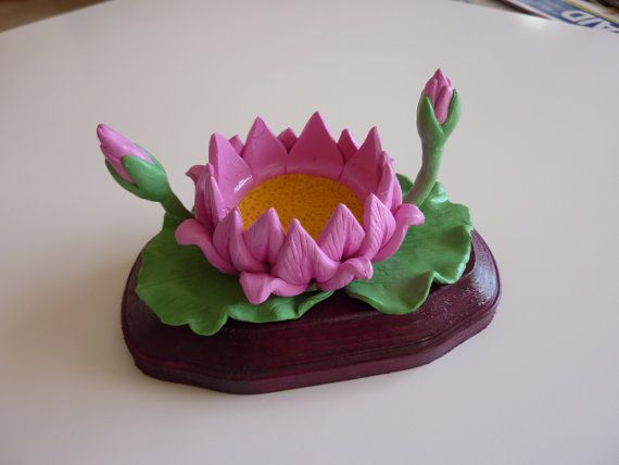 Lotus Flower Polymer Clay Candle Holder Cake Topper Keepsake