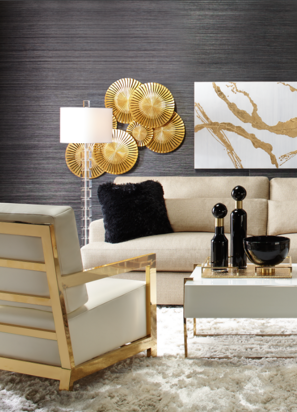 Brass Black Are Back Black White Gold Living Room Gold