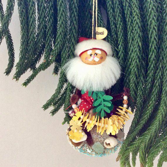 Hawaiian Christmas - Hawaiian Ornament - Santa - Leimaker - Hawaii