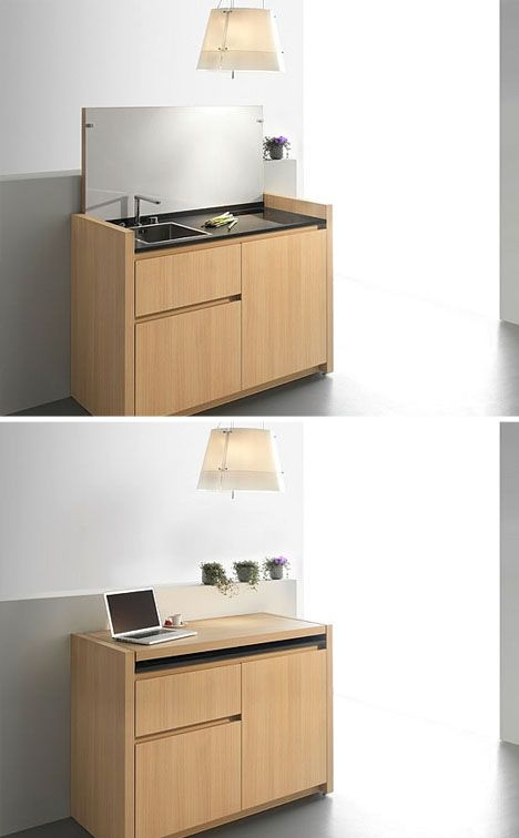 This Is A Compact Dinette Station Featuring A Mini Fridge, Sink, Burners,