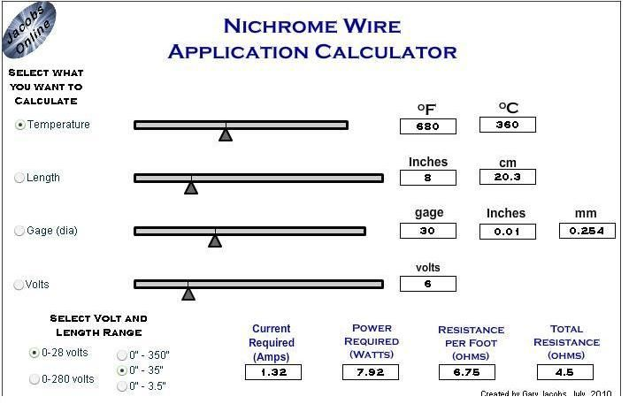 Calculator To Find The Right Nichrome Wire Size  Length