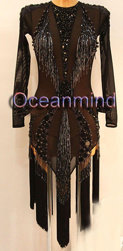 Women Rhythm Salsa Rumba Samba Latin Dress US 10 UK 12 Two Black Beads Fringe
