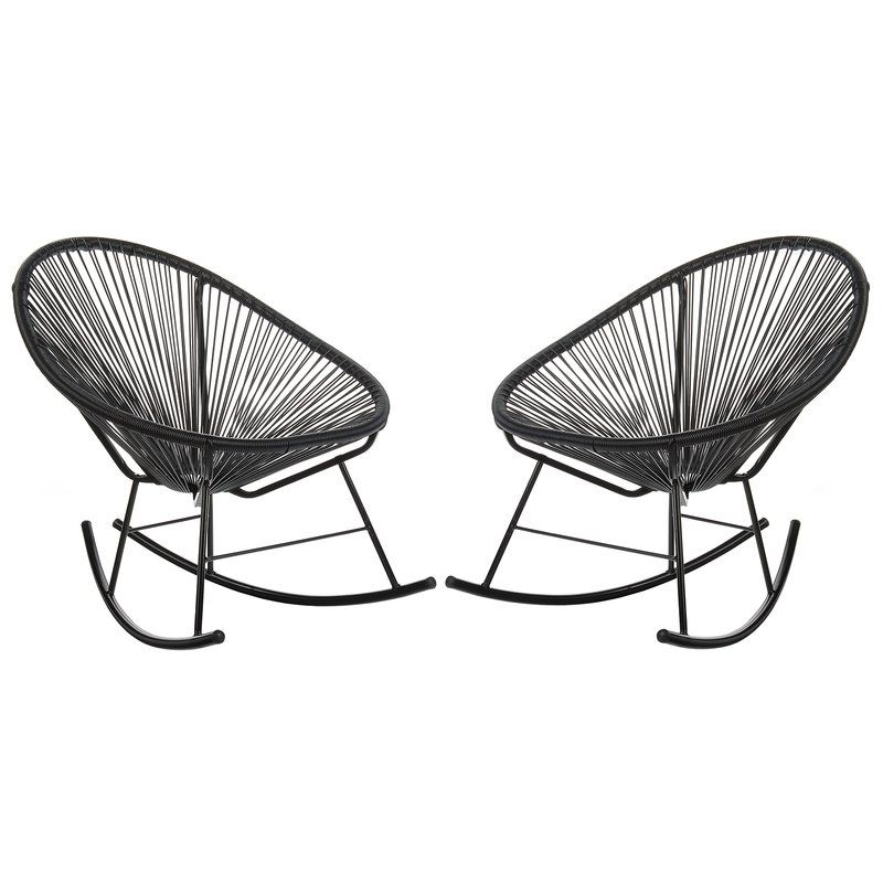 black wicker outdoor rocking chairs modern outdoor patio seating