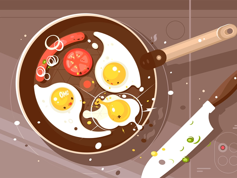 Fry Scrambled Eggs And Sausage Food Illustration Art Food Illustrations Scrambled Eggs