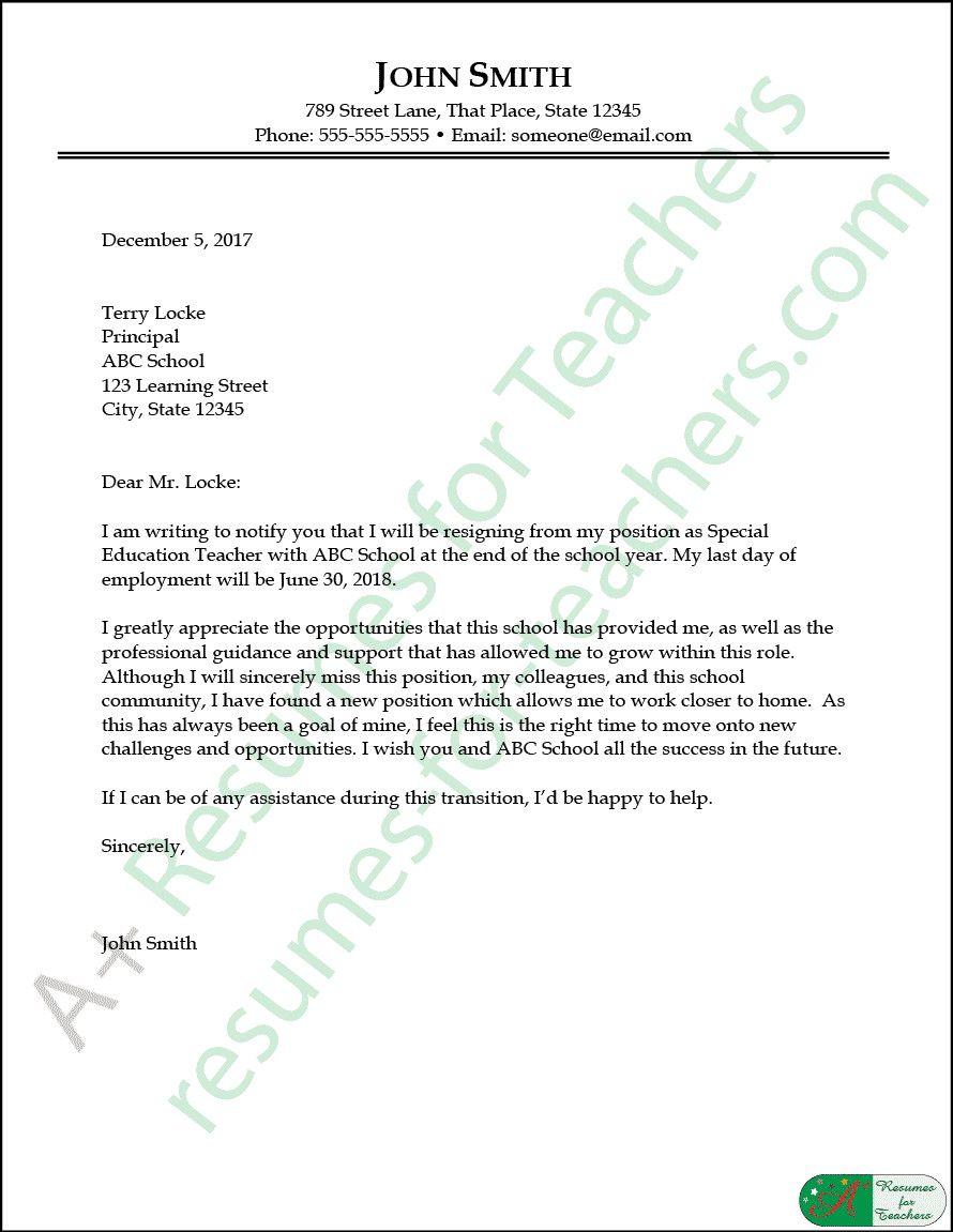 Resignation Letter for A Teacher Unique Education