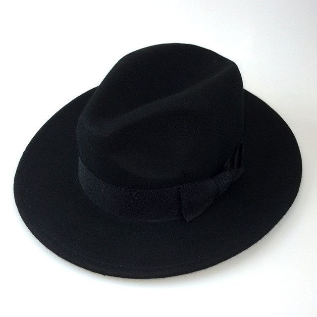 3fdb6e38d03 High Quality Wide Brim Fedora Men s Black Hat. Ideal black hat for yeshiva  and shul. Material  Wool Hat circumference size  57cm (Suitable 55-59cm)  For the ...