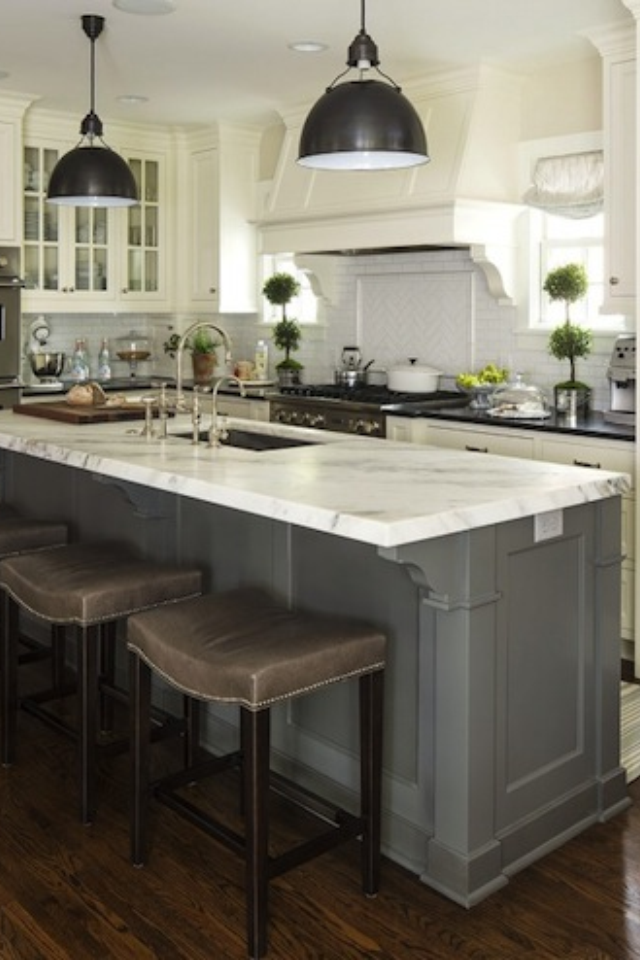 grey, white, marble and black countertops   Beautiful ...