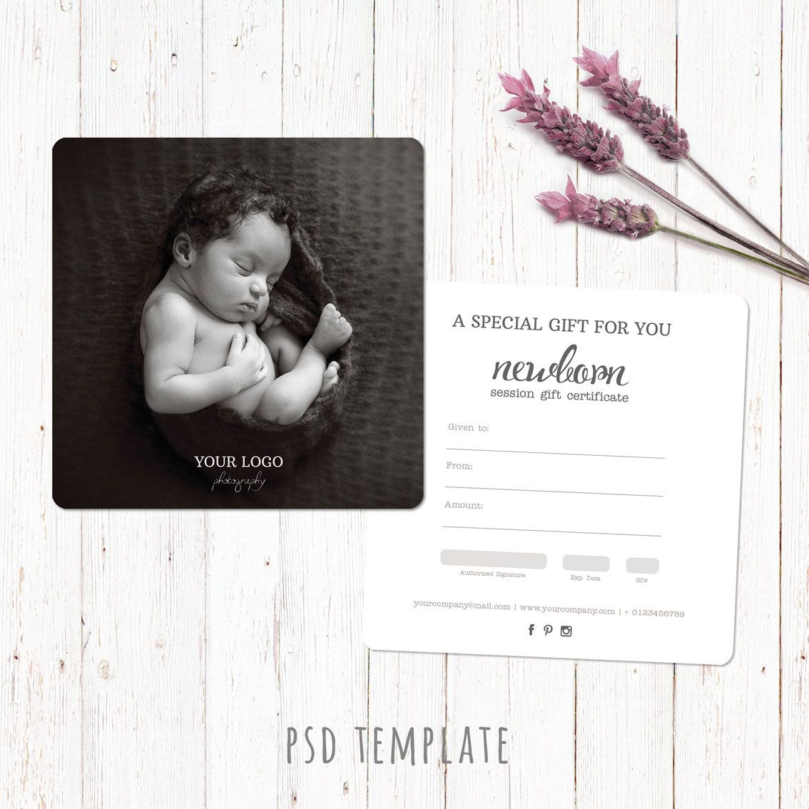 Gift certificate template newborn session photography gift card gift certificate template newborn session photography gift card marketing voucher card fully editable yelopaper Image collections