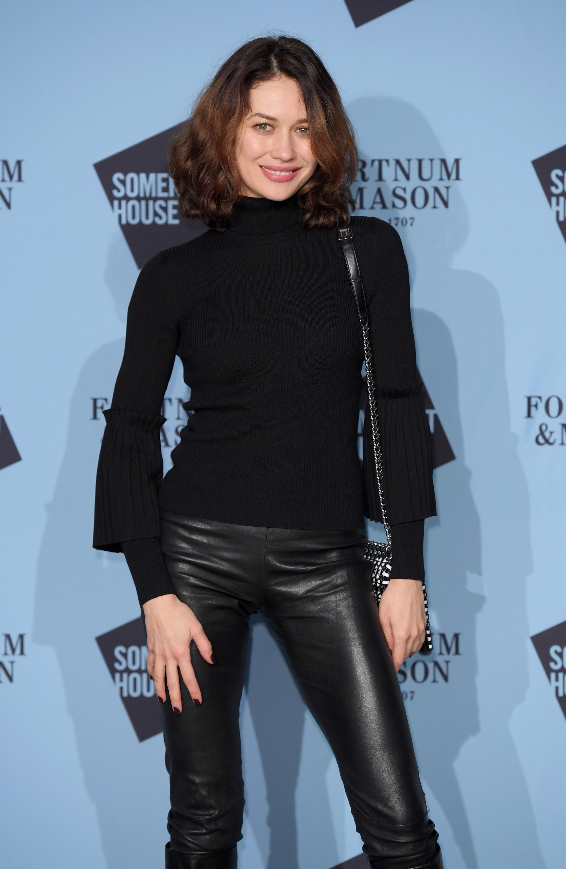 Olga Kurylenko black leather pants