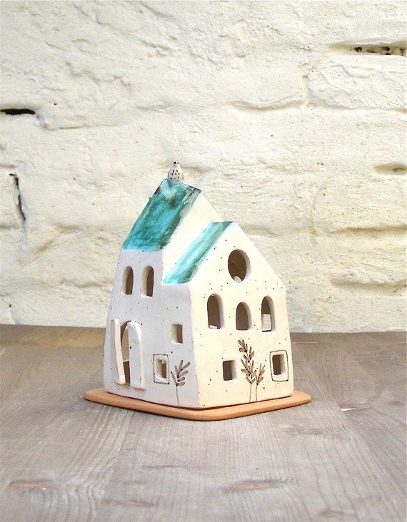 Green And White House With Little Bird Small House Candle Holder