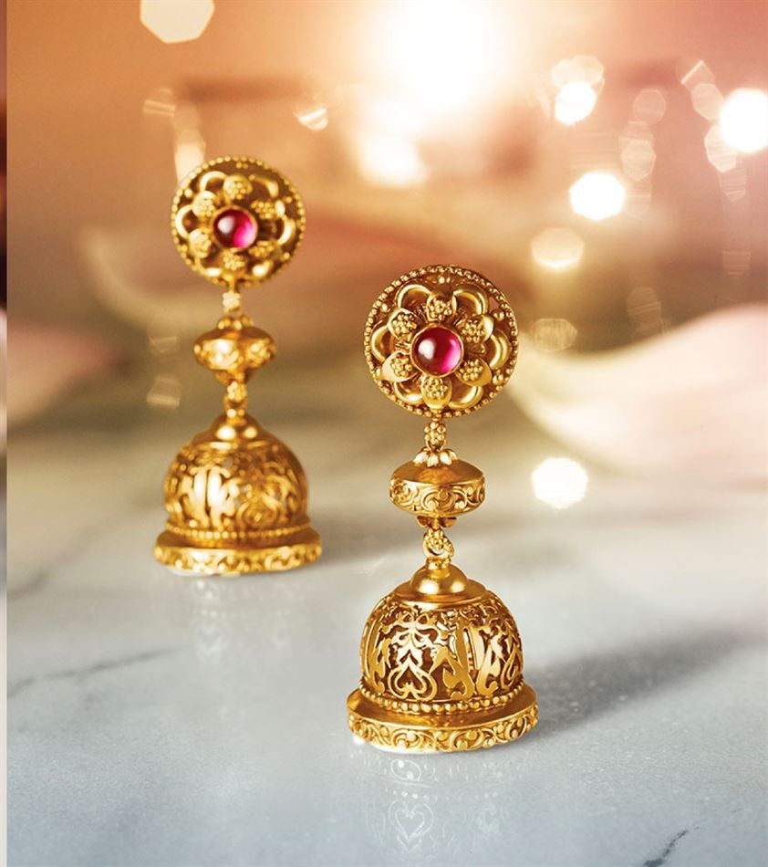 f549b6f757ef3 Catalogue of offers from Tanishq | mom | Gold jhumka earrings ...