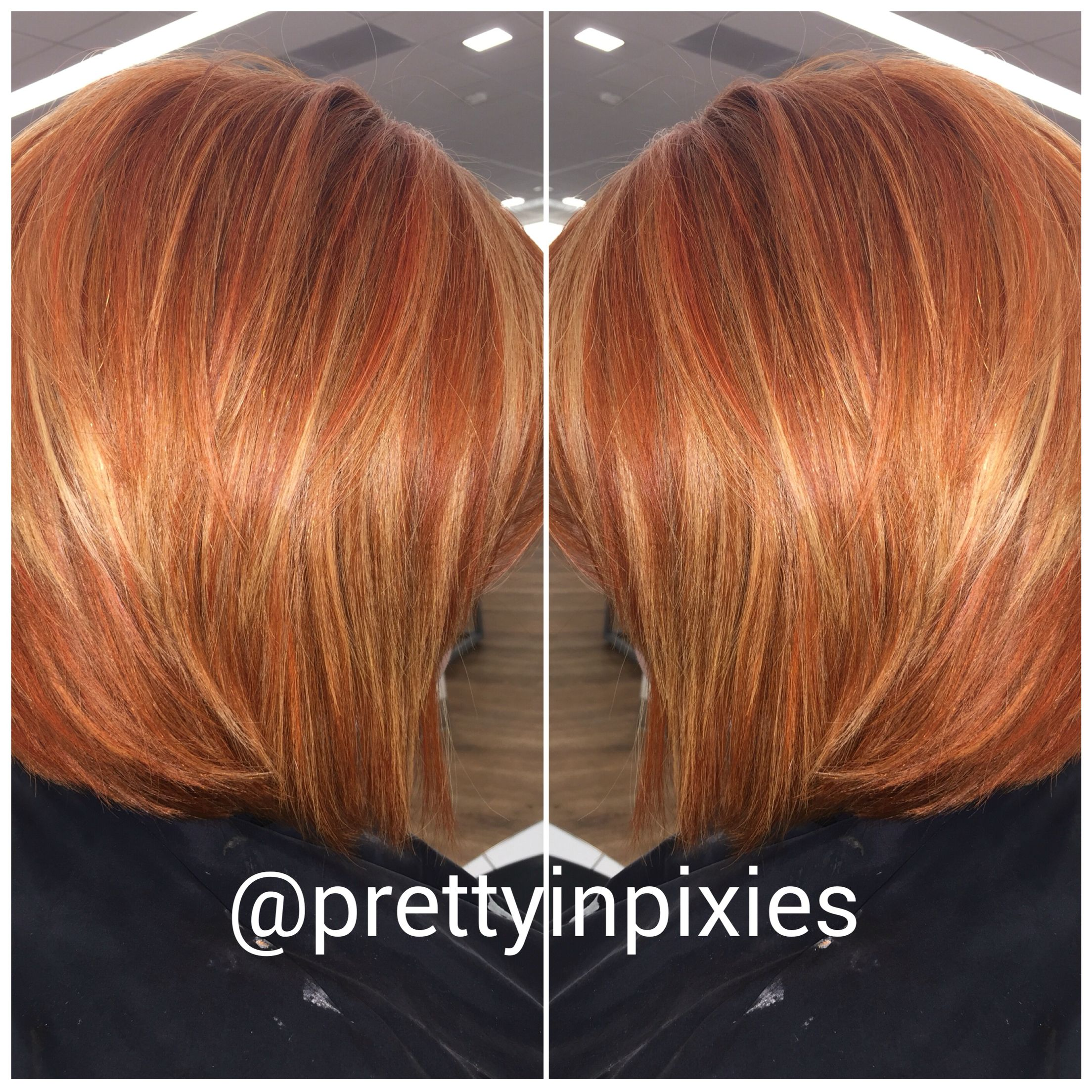 Copper Blonde Red Highlights Bright Bob Ariel With Images
