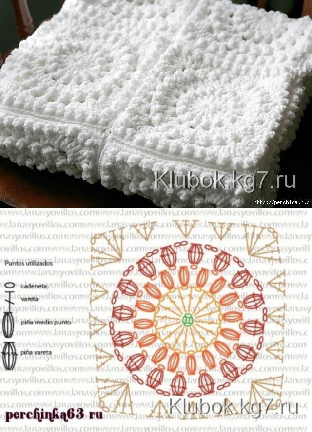 Плед афганским квадратом / Вяз | | crochet | Pinterest | Manta ...