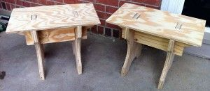 Plywood benches with layout