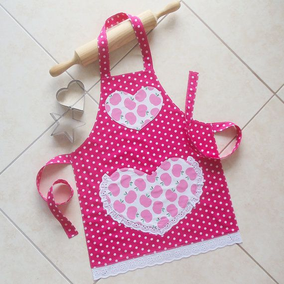 Girls Apron pink, kids & toddlers kitchen craft play art ...