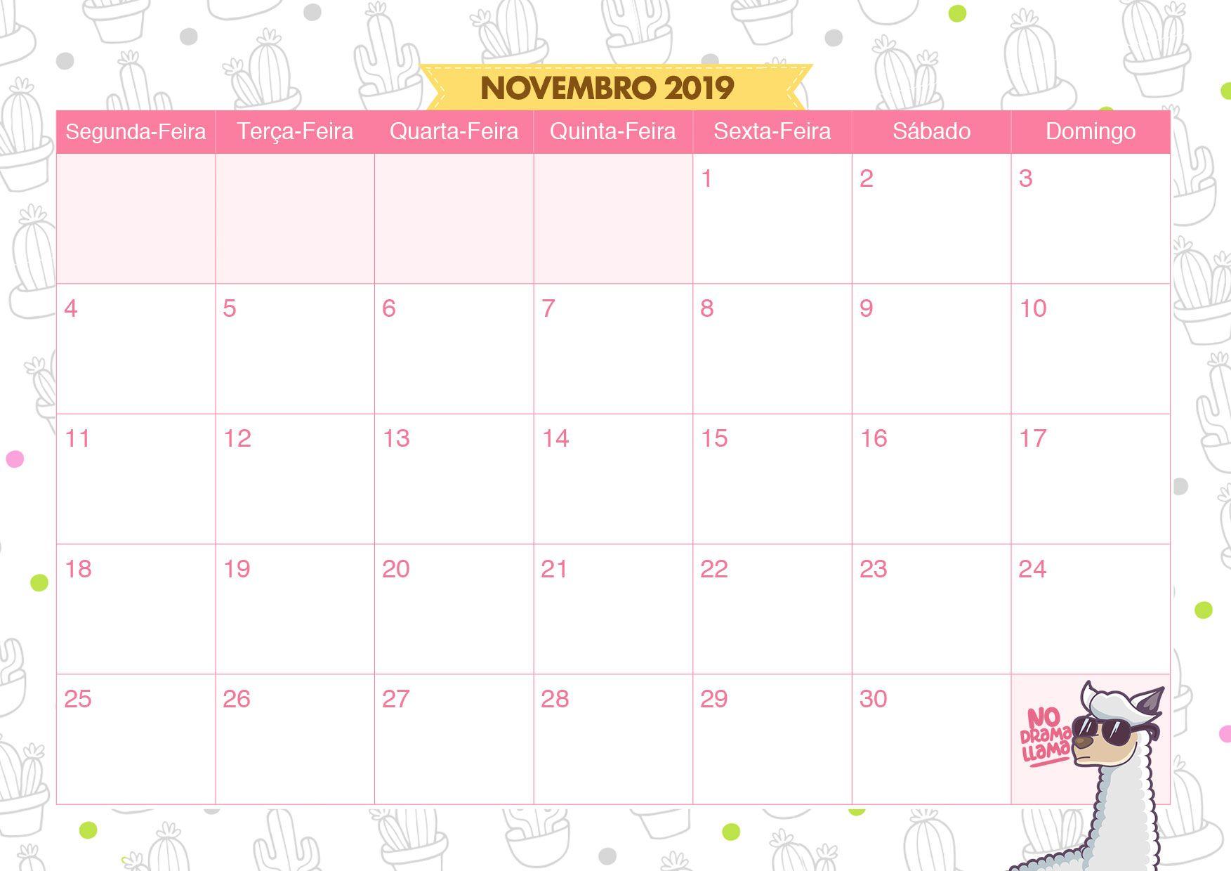Calendario Mensal Lhama e Cactos Novembro 2019 ...