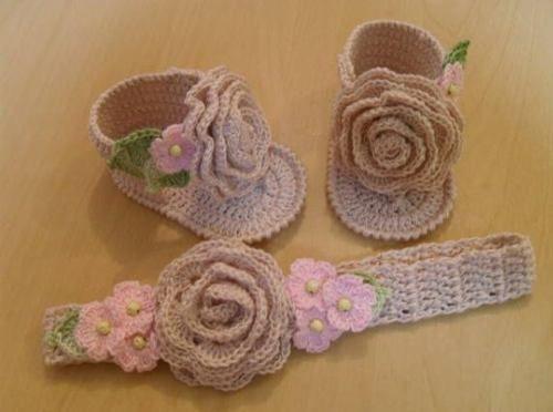 Conjunto-Zapatitos-De-Bebe-Cintillo-Tejidos-A-Crochet ...