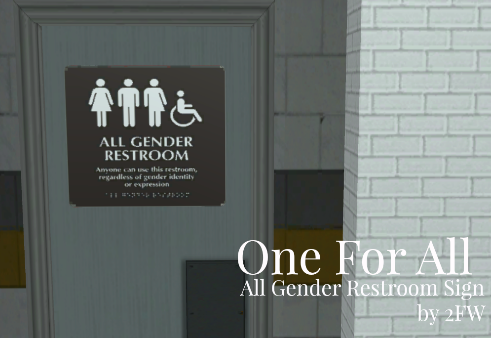 One For All All Gender Restroom Sign All Gender Restroom Restroom Sign Wall Writing