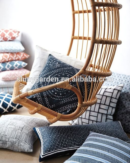 Source Outdoor Indoor Swing Chair Ceiling Hanging Rattan Chair With Double  Hanging Rope On M.