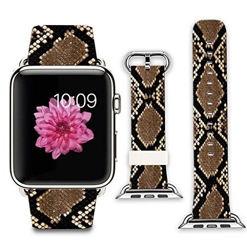 Apple Watch Bandadapter 42mm Stainless Steel Silver Metal Replacement Strap Wrist Band for Apple Watch 42mm 100 Leather  Diamond pattern snakeskin pattern * You can get additional details at the image link.