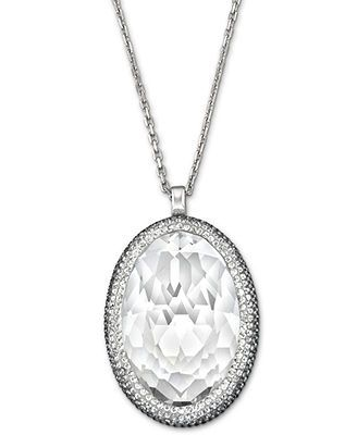 18e526c71 Swarovski Necklace, Palladium-Plated Clear Crystal Oval Pendant Necklace